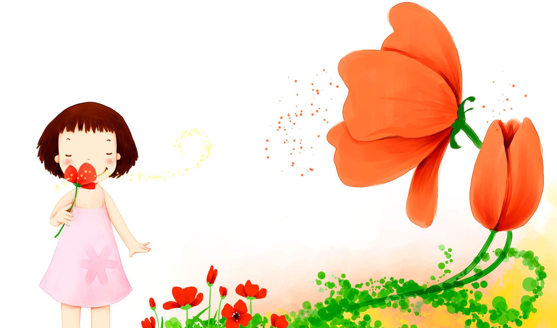 Открытка к цветами и девочкой отличия, мэри поппинс